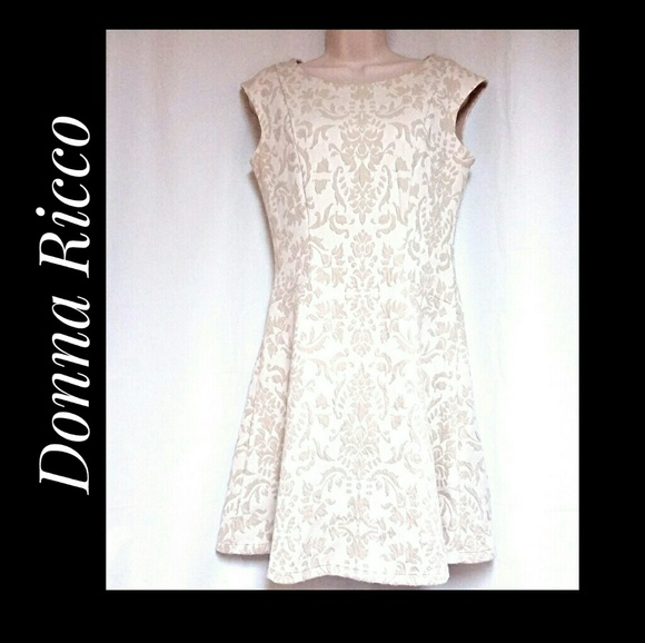 Donna Ricco Dresses & Skirts - Donna Ricco Ivory Flocked Fit and Flare Dress Sz 6